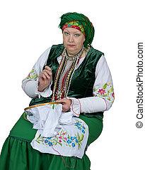 russo, nacional, mulher, traje, histórico