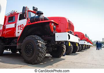 russo, nuovo, autocarri incendio
