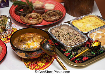 russo, tavola, cibo