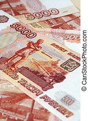 russo, vantagem, denominations., roubles., 5000, monetário