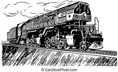 russo, vapor, locomotiva