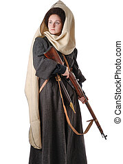 russo, vendemmia, donna, cossack, costume