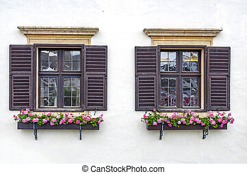 Rust, Austria - Twin flower windows in Rust, Burgenland,...