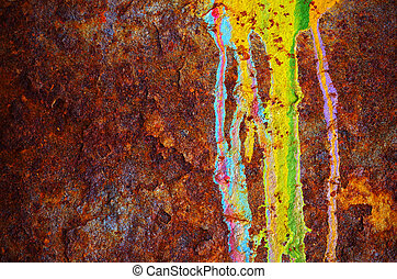 Colorful grunge background of rusty iron surface with paint stains