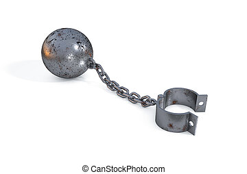 rust iron ball and chain with a open cuff hanging on white background. Restrictions and limits.