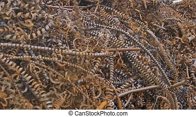 rust metal texture shavings mountain plant background waste