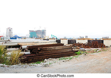 Rust Steel pipes in consruction site