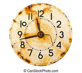 rusted and grunge metal clock dial