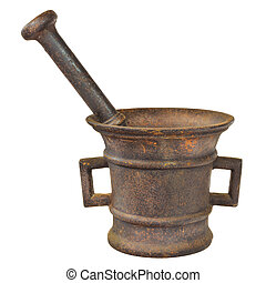 Rusted authentic ancient mortar