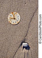 rusted clock dial on the sea beach sand