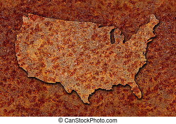 Rusted corroded metal map of the United States seamlessly tileable, reddish orange in color.