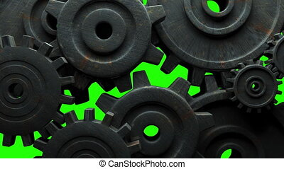 Rusted gears on green chroma key. Loop able 3DCG render ...