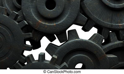 Rusted gears on white background