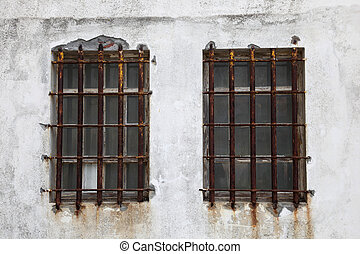 Rusted iron window bars