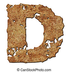 Rusted letters. - Rusty letters with torn edge isolated on...