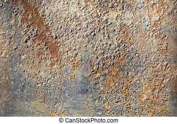 Rusted metal of the hull of a ship