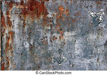 Closeup of rusted metal surface.