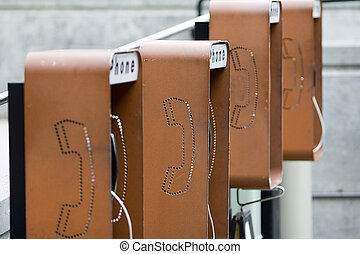 Rusted Payphones - Four rusted payphones