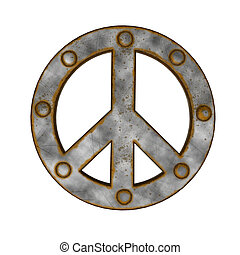 pacific - rusted riveted pacific symbol on white background...