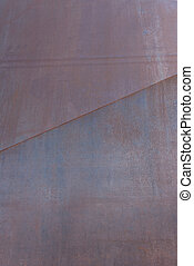 Rusted Steel Panel with Diagonal Seam