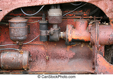 Rusted tractor engine