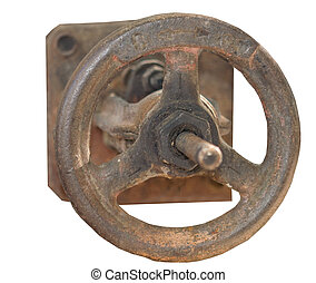 Rusted valve on white background