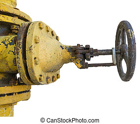 Rusted valve - old metal pipe with valve on a white...