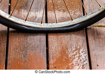 Rusted wheel bicycle flat tire