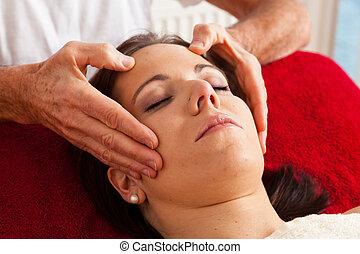 rusten, en, ontspanning, door, masseren