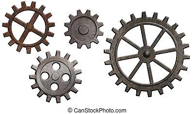 rustent metal, det gears, sæt, isoleret, på hvide