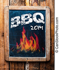 Rustic advertisement for a BBQ on a slate - Rustic...