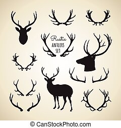 Rustic Antlers Set - Set of rustic antler designs and...