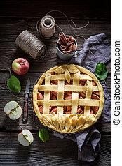 Rustic apple pie made of fresh ingredients