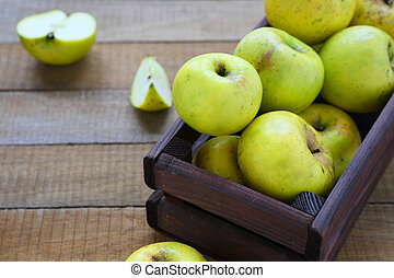 rustic apples in a box