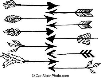 Rustic arrows - Cute arrows, hand drawn doodles set. Tribal,...