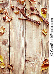 Rustic autumn border with leaves and antlers