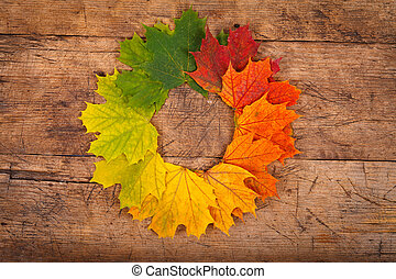 Rustic autumn wreath - Colorful autumn leaves in form of...