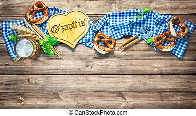 Rustic background for Oktoberfest or Bavarian specialties...