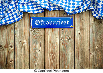 Rustic background for Oktoberfest with Bavarian white and ...