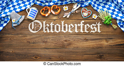 Rustic background for Oktoberfest with white and blue...