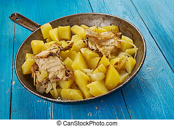 Rustic baked chicken with potatoes