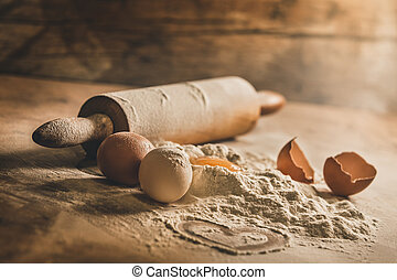 Rustic baking equipment with symbol of heart