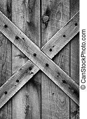 Rustic barn door with period correct style and materials (Ponderosa Pine) for mid-1800's American Western Frontier (black and white).
