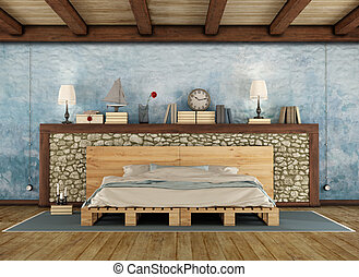 Rustic bedroom with pallet double bed - Pellet bed in a...