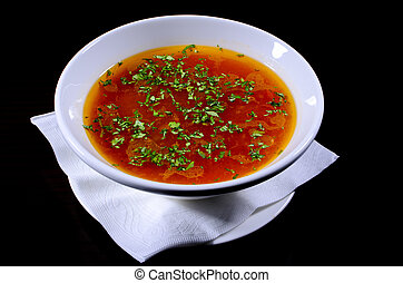 Rustic beef broth, photo shooted in studio