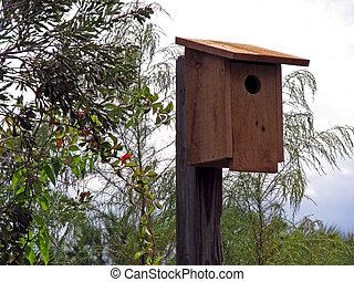 birdhouse - rustic birdhouse on pole in wooded area