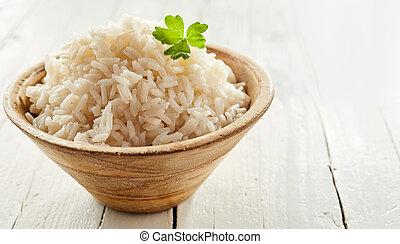 Rustic bowl of cooked long grain rice