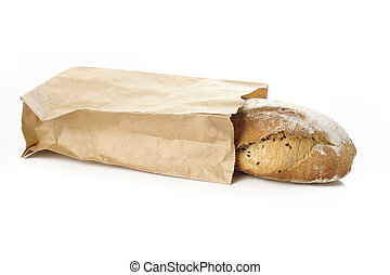 rustic bread on white background