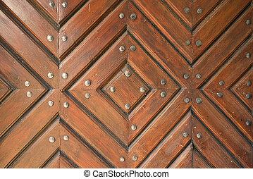 Rustic brown wooden door texture