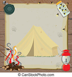 Rustic camping party invitation with an old fashioned tent, lantern, canteen, jar of fireflies and a roaring fire for roasting marshmallows and hotdogs all on old vintage paper with animal tracks set against a wood paneled background.